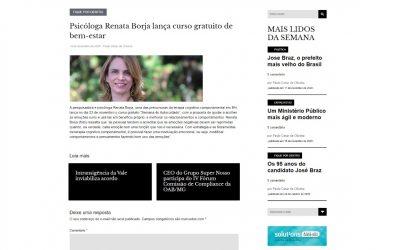 Psicóloga Renata Borja lança curso gratuito de bem-estar